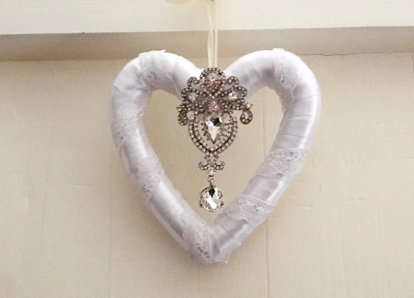 Lace and ribbon wedding heart | Home decor