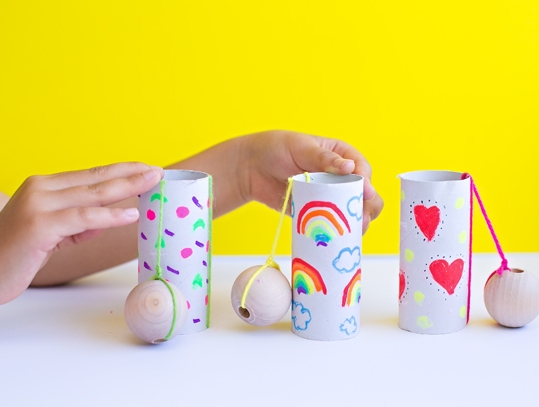 toilet roll game - ball in a cup