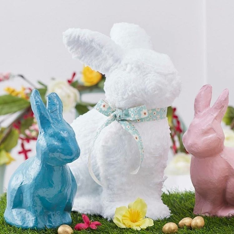 Kids decorated rabbits with decopatch and wool