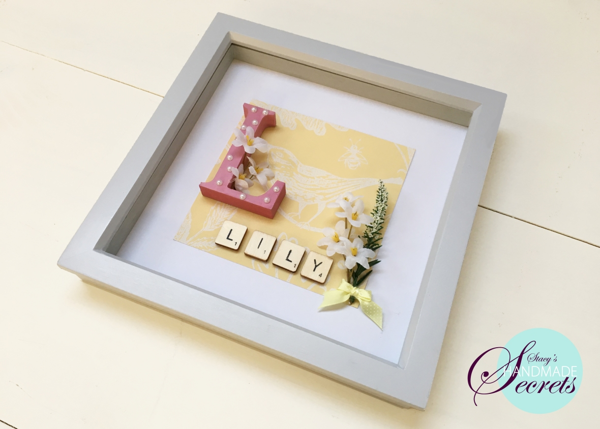 Personalised Letter box frame with the a painted pink wooden letter 'L'