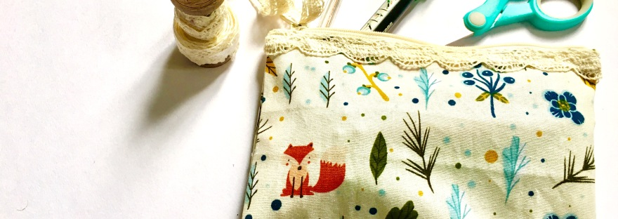 Handmade pencil case with stationery