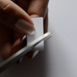 Close up of cutting a triangle shape