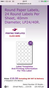 Screenshot of sticker template