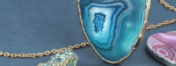 Close up of Semi Precious Pendants