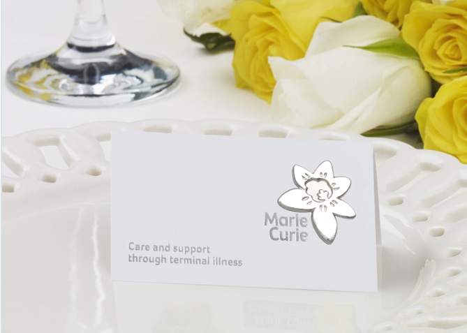 Marie Curie Wedding Favour badge