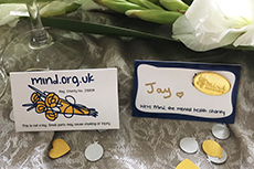 Gold mind badge wedding favour