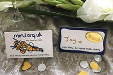 Gold mind badge wedding favour