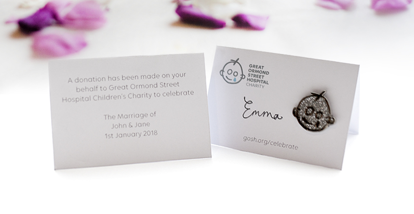 Great Ormond Street wedding Favour badges