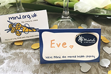 blue mind badge wedding favour