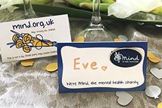 blue mind badge wedding favour