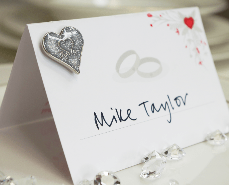 British Heart Foundation Pin badge wedding favours