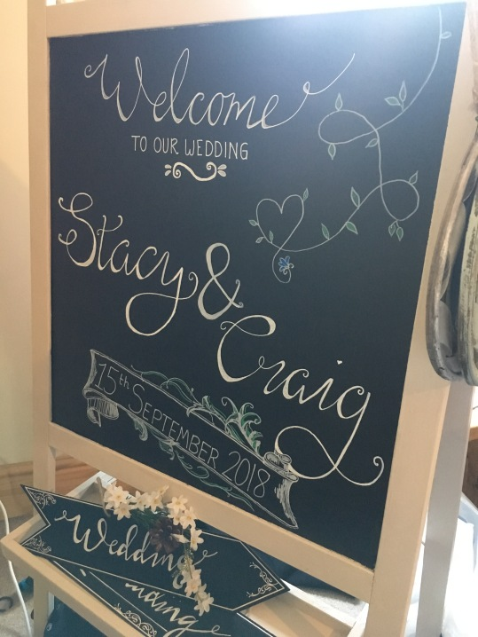 Welcome wedding sign on chalkboard
