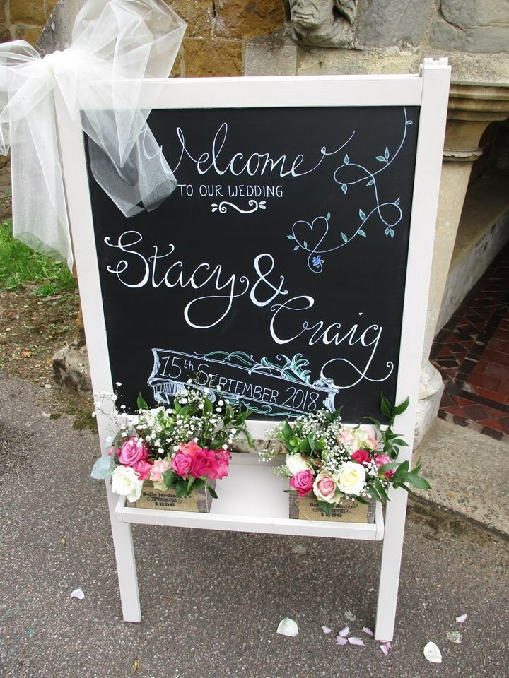 Blackboard Easel with a wedding message