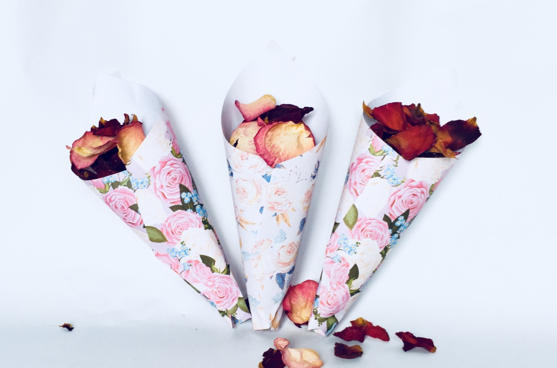 3 Paper Cones containing dried rose petals